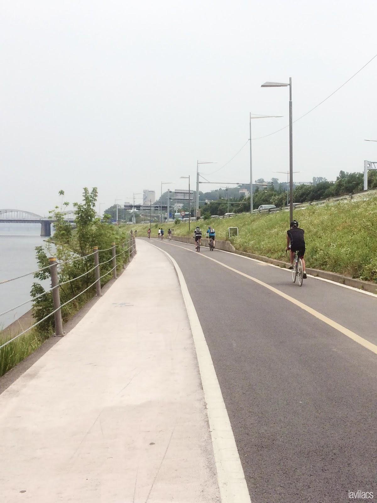 Seoul, Korea - Summer Study Abroad 2014 - Yeouido Park - biking path along Han River