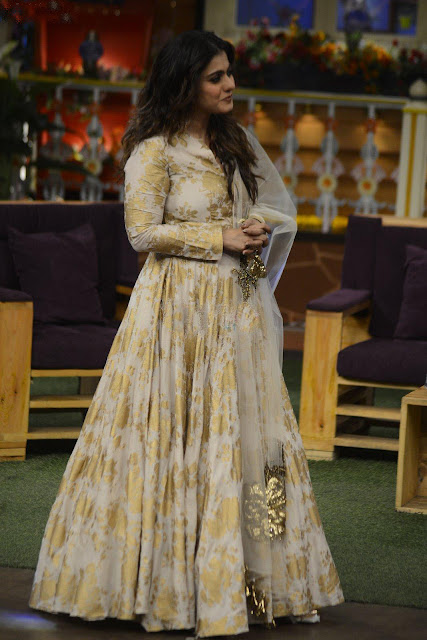 Kajol in White and Gold Foral Anarkali by Bhumika Sharma
