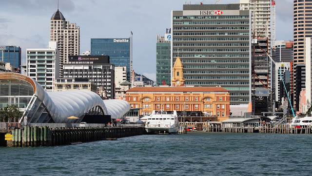 Auckland ferry terminal viewed from the water