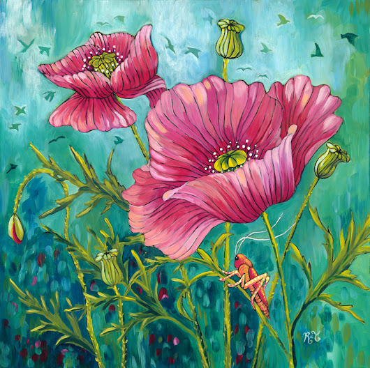 "New painting, ""Poppies & Grasshopper"""