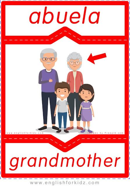 Grandmother English-Spanish flashcards for the family members topic