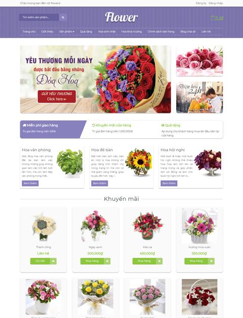 Template mẫu giao diện blogger bán hoa