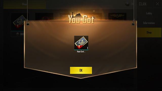 Membeli room card melalui clan shop