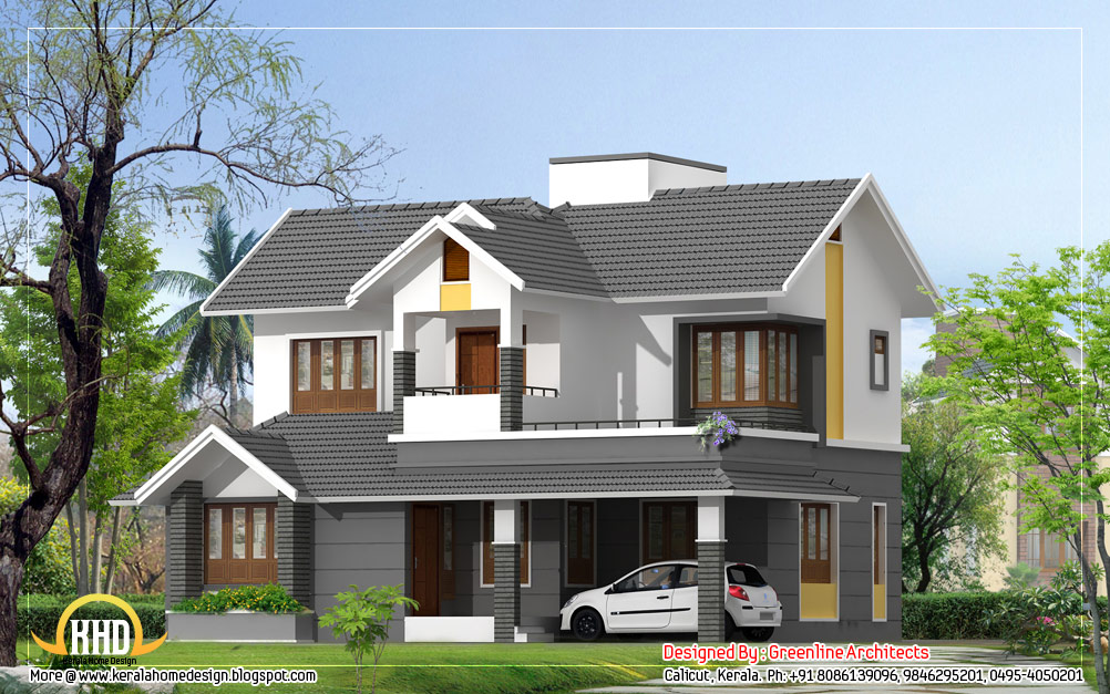 Modern style duplex house 1740 sq ft kerala home for Front view of duplex house in india