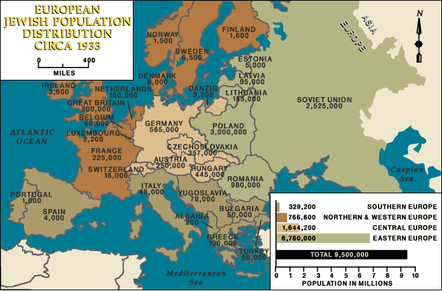 The Jewish Population In Europe In 1933 642 423 Mapporn
