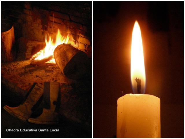 El fuego en la estufa a leña / Vela encendida - Chacra Educativa Santa Lucía