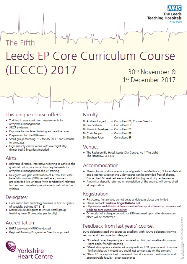 Wessex Cardiology Trainees Leeds Ep Core Curriculum Course