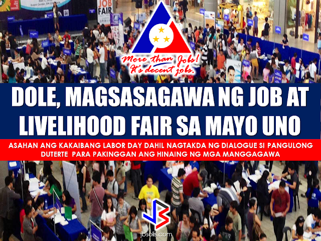 "Good news to all jobseekers! DOLE announced that they are going to hold a job and business/livelihood fare this coming May 1, 2017 on the relocation areas of the National Housing Authority (NHA). More than 50 simultaneous jobs aand livelihood fares will be put up in time with the Labor Day celebration on May 1. Aside from the annual job fair, DOLE will also conduct forum and seminars that will provide services and promote entrepreneurship at the grassroots level. DOLE revealed that it is in close coordination with the NHA so that the labor department can put up a special job fair in selected relocation areas in Regions 3, 4-A and NCR. DOLE said they recognized the problem of those who are dwelling on relocation areas who find it hard to have a job access due to the location of these areas. They are far from cities and urban areas. The Department said that they will coordinate with the residence prior to the fare so that the jobs they would offer will match their interests and skills. Meanwhile, Labor Secretary Silvestre Bello III said that they will welcome any labor groups which may hold protests on labor day. He said rallies are medium that enable the government to know the sentiments of the labor groups.  This labor day will be the first since President Rodrigo Duterte took office. Sec. Bello said that this labor day will be different from the past celebrations because President Rodrigo Duterte has scheduled a dialogue between trade union and labor groups. RECOMMENDED: The Technical Education and Skills Development Authority (TESDA) has announced that it is going to give an on-site assessment to overseas Filipino workers (OFWs) who are bound for the Middle East.  Secretary Guiling ""Gene"" Mamondiong, TESDA Director-General said that the Onsite Assessment Program (OAP) aims to find out if the OFWs possess the competencies required in a preferred work.  Mamondiong disclosed that a delegation from TESDA will go to the Middle East to conduct the onsite assessment in coordination with the Philippine Overseas Labor Offices (POLO).  The TESDA onsite assessment is scheduled at Comsofil in Riyadh; POLO, Dubai;  ICSA, Kuwait City and Total Care International in Jeddah. OFWs who are interested in the onsite assessment may visit the POLO in the scheduled areas. Jeddah and Dubai have already submitted a list of assessment candidates, Mamondiong said.  Workers may take the assessment in the following qualifications:   Riyadh:  Technical Drafting NC II;  Visual Graphics Design NC II  and Computer Systems Servicing NC II for    Dubai:  Technical Drafting NC II,  Visual Graphics Design NC III,  Massage Therapy NC II and Caregiving NC II.   Kuwait: Technical Drafting NC II  Visual Graphics Design NC III  Computer Systems Servicing NC II.   Jeddah:  Massage Therapy NC II   Caregiving NC II. The TESDA onsite assessment is scheduled at Comsofil in Riyadh; POLO, Dubai;  ICSA, Kuwait City  and Total Care International in Jeddah.   Poor PGH Patients to Benefit From P100Million Funds From President Rodrigo Duterte Known to be a President with a soft spot for the  poor and those who are in the lace of society, President Rodrigo Duterte has once again proved it when he allocated P100 million to fund the hospitalization of the poor patients at the state-owned Philippine General Hospital (PGH). The President turned over the check to PGH Director Dr. Gerardo Legaspi during a meeting in Malacañang on March 7, 2017.   In a statement released by Radio Television  Network Malacañang, it says that the said fund will be allocated for the underprivileged patients who cannot afford medical procedures and treatments.      The President has shown his soft spot for the poor after giving P2 billion from PAGCOR, to  the Department of Health  to be used for   the free medical assistance to the public.  Present during the meeting with the President were PGH Director Gerardo Legazpi,  Dr. Ireneo Quiron of the PGH Fiscal Services, Deputy Executive Secretary for Finance and Administration Rizalina Justol, and Special Assistant to the President (SAP) Christopher 'Bong' Go.  Recommended:   The President assures that he will bring 250 stranded OFWs from Saudi Arabia with him when he returned to the Philippines after a series of visit in the Middle East. During his speech in Davao before his departure, he said that God-willing, he will bring some OFWs in death row with him when he return to the country. During his speech in front of the Filipino Community in Riyadh , Saudi Arabia, President Duterte said that he will be bringing home the first batch of 250 OFWs who had been stranded in Saudi Arabia for a very long time, and they will continue to do it. ""We are arranging for the transportation of 250 OFWs who hopefully be back to the Philippines in time for the return of President Rodrigo Duterte.., "" DOLE Secretary Silvestre Bello III said. Secretary Bello also added that since the announcement of the Saudi Crown Prince Deputy Prime Minister and the Minister of Interior Prince Mohammed bin Naif Al Saud about the amnesty program for expats, DOLE has already sent an augmentation team to assist the OFWs to comply with the requirements for the amnesty and a lot of them have already availed it. According to Secretary Bello, they are also working on the unpaid claims of the OFWs and they are only validating it in order to establish their claims. If they are all been verified, OWWA will be paying their money claims in advance. President Duterte will also be visiting Bahrain and Qatar after his visit to Saudi Arabia and is expected to be back in the Philippines on April 17. Recommended: ""They've been given the clearance. I will fly them home. When I return, I'll be bringing some of them home, "" he said during a pre-departure press briefing in Davao City. Reports saying that the Embassy officials in Saudi Arabia have been acting slow with regards to helping stranded and runaway OFWs are not entirely correct according to Philippine Consul General Iric Arribas. He also said that the Philippine Embassy in Riyadh and the philippine Consulate in Jeddah are both providing the OFWs all the help they need which includes repatriation as well. 700 OFWs have been in jails in Saudi Arabia for various charges because there are no assistance coming from the Embassy officials, according to the reports from various OFW advocates. The OFWs are the reason why President Rodrigo Duterte is pushing through with the campaign on illegal drugs, acknowledging their hardships and sacrifices. He said that as he visit the countries where there are OFWs, he has heard sad stories about them: sexually abused Filipinas,domestic helpers being forced to work on a number of employers. ""I have been to many places. I have been to the Middle East. You know, the husband is working in one place, the wife in another country. The so many sad stories I hear about our women being raped, abused sexually,"" The President said. About Filipino domestic helpers, he said: ""If you are working on a family and the employer's sibling doesn't have a helper, you will also work for them. And if in a compound,the son-in-law of the employer is also living in there, you will also work for him.So, they would finish their work on sunrise."" He even refer to the OFWs being similar to the African slaves because of the situation that they have been into for the sake of their families back home. Citing instances that some of them, out of deep despair, resorted to ending their own lives. The President also said that he finds it heartbreaking to know that after all the sacrifices of the OFWs working abroad for the future of their families they would come home just to learn that their children has been into illegal drugs. ""I made no bones about my hatred. I said, 'If you do drugs in my city, if you destroy our daughters and sons, I'll just have to kill you.' I repeated the same warning when i became president,"" he said. Critics of the so-called violent war on drugs under President Duterte's administration includes local and international human rights groups, linking the campaign on thousands of drug-related killings. Police figures show that legitimate police operations have led to over 2,600 deaths of individuals involved in drugs since the war on drugs began. However, the war on drugs has been evident that the extent of drug menace should be taken seriously. The drug personalities includes high ranking officials and they thrive in the expense of our own children,if not being into drugs, being victimized by drug related crimes. The campaign on illegal drugs has somehow made a statement among the drug pushers and addicts. If the common citizen fear walking on the streets at night worrying about the drug addicts lurking in the dark, now they can walk peacefully while the drug addicts hide in fear that the police authorities might get them. Source:GMA {INSERT ALL PARAGRAPHS HERE {EMBED 3 FB PAGES POST FROM JBSOLIS/THOUGHTSKOTO/PEBA HERE OR INSERT 3 LINKS} ©2017 THOUGHTSKOTO www.jbsolis.com SEARCH JBSOLIS The OFWs are the reason why President Rodrigo Duterte is pushing through with the campaign on illegal drugs, acknowledging their hardships and sacrifices. He said that as he visit the countries where there are OFWs, he has heard sad stories about them: sexually abused Filipinas,domestic helpers being forced to work on a number of employers. ©2017 THOUGHTSKOTO www.jbsolis.com SEARCH JBSOLIS  ""They've been given the clearance. I will fly them home. When I return, I'll be bringing some of them home, "" he said during a pre-departure press briefing in Davao City. The President assures that he will bring 250 stranded OFWs from Saudi Arabia with him when he returned to the Philippines after a series of visit in the Middle East. During his speech in Davao before his departure, he said that God-willing, he will bring some OFWs in death row with him when he return to the country. During his speech in front of the Filipino Community in Riyadh , Saudi Arabia, President Duterte said that he will be bringing home the first batch of 250 OFWs who had been stranded in Saudi Arabia for a very long time, and they will continue to do it. ""We are arranging for the transportation of 250 OFWs who hopefully be back to the Philippines in time for the return of President Rodrigo Duterte.., "" DOLE Secretary Silvestre Bello III said. Secretary Bello also added that since the announcement of the Saudi Crown Prince Deputy Prime Minister and the Minister of Interior Prince Mohammed bin Naif Al Saud about the amnesty program for expats, DOLE has already sent an augmentation team to assist the OFWs to comply with the requirements for the amnesty and a lot of them have already availed it. According to Secretary Bello, they are also working on the unpaid claims of the OFWs and they are only validating it in order to establish their claims. If they are all been verified, OWWA will be paying their money claims in advance. President Duterte will also be visiting Bahrain and Qatar after his visit to Saudi Arabia and is expected to be back in the Philippines on April 17. Recommended: ""They've been given the clearance. I will fly them home. When I return, I'll be bringing some of them home, "" he said during a pre-departure press briefing in Davao City. Reports saying that the Embassy officials in Saudi Arabia have been acting slow with regards to helping stranded and runaway OFWs are not entirely correct according to Philippine Consul General Iric Arribas. He also said that the Philippine Embassy in Riyadh and the philippine Consulate in Jeddah are both providing the OFWs all the help they need which includes repatriation as well. 700 OFWs have been in jails in Saudi Arabia for various charges because there are no assistance coming from the Embassy officials, according to the reports from various OFW advocates. The OFWs are the reason why President Rodrigo Duterte is pushing through with the campaign on illegal drugs, acknowledging their hardships and sacrifices. He said that as he visit the countries where there are OFWs, he has heard sad stories about them: sexually abused Filipinas,domestic helpers being forced to work on a number of employers. ""I have been to many places. I have been to the Middle East. You know, the husband is working in one place, the wife in another country. The so many sad stories I hear about our women being raped, abused sexually,"" The President said. About Filipino domestic helpers, he said: ""If you are working on a family and the employer's sibling doesn't have a helper, you will also work for them. And if in a compound,the son-in-law of the employer is also living in there, you will also work for him.So, they would finish their work on sunrise."" He even refer to the OFWs being similar to the African slaves because of the situation that they have been into for the sake of their families back home. Citing instances that some of them, out of deep despair, resorted to ending their own lives. The President also said that he finds it heartbreaking to know that after all the sacrifices of the OFWs working abroad for the future of their families they would come home just to learn that their children has been into illegal drugs. ""I made no bones about my hatred. I said, 'If you do drugs in my city, if you destroy our daughters and sons, I'll just have to kill you.' I repeated the same warning when i became president,"" he said. Critics of the so-called violent war on drugs under President Duterte's administration includes local and international human rights groups, linking the campaign on thousands of drug-related killings. Police figures show that legitimate police operations have led to over 2,600 deaths of individuals involved in drugs since the war on drugs began. However, the war on drugs has been evident that the extent of drug menace should be taken seriously. The drug personalities includes high ranking officials and they thrive in the expense of our own children,if not being into drugs, being victimized by drug related crimes. The campaign on illegal drugs has somehow made a statement among the drug pushers and addicts. If the common citizen fear walking on the streets at night worrying about the drug addicts lurking in the dark, now they can walk peacefully while the drug addicts hide in fear that the police authorities might get them. Source:GMA {INSERT ALL PARAGRAPHS HERE {EMBED 3 FB PAGES POST FROM JBSOLIS/THOUGHTSKOTO/PEBA HERE OR INSERT 3 LINKS} ©2017 THOUGHTSKOTO www.jbsolis.com SEARCH JBSOLIS The OFWs are the reason why President Rodrigo Duterte is pushing through with the campaign on illegal drugs, acknowledging their hardships and sacrifices. He said that as he visit the countries where there are OFWs, he has heard sad stories about them: sexually abused Filipinas,domestic helpers being forced to work on a number of employers. ©2017 THOUGHTSKOTO www.jbsolis.com SEARCH JBSOLIS  Reports saying that the Embassy officials in Saudi Arabia have been acting slow with regards to helping stranded and runaway OFWs are not entirely correct according to Philippine Consul General Iric Arribas.  He also said that the Philippine Embassy in Riyadh and  the philippine Consulate in Jeddah are both providing the OFWs all the help they need which includes repatriation as well.   700 OFWs have been in jails in Saudi Arabia for various charges because there are no assistance coming from the Embassy officials, according to the reports from various OFW advocates.     The OFWs are the reason why President Rodrigo Duterte is pushing through with the campaign on illegal drugs, acknowledging their hardships and sacrifices. He said that as he visit the countries where there are OFWs, he has heard sad stories about them: sexually abused Filipinas,domestic helpers being forced to work on a number of employers. ""I have been to many places. I have been to the Middle East. You know, the husband is working in one place, the wife in another country. The so many sad stories I hear about our women being raped, abused sexually,"" The President said. About Filipino domestic helpers, he said: ""If you are working on a family and the employer's sibling doesn't have a helper, you will also work for them. And if in a compound,the son-in-law of the employer is also living in there, you will also work for him.So, they would finish their work on sunrise."" He even refer to the OFWs being similar to the African slaves because of the situation that they have been into for the sake of their families back home. Citing instances that some of them, out of deep despair, resorted to ending their own lives. The President also said that he finds it heartbreaking to know that after all the sacrifices of the OFWs working abroad for the future of their families they would come home just to learn that their children has been into illegal drugs. ""I made no bones about my hatred. I said, 'If you do drugs in my city, if you destroy our daughters and sons, I'll just have to kill you.' I repeated the same warning when i became president,"" he said. Critics of the so-called violent war on drugs under President Duterte's administration includes local and international human rights groups, linking the campaign on thousands of drug-related killings. Police figures show that legitimate police operations have led to over 2,600 deaths of individuals involved in drugs since the war on drugs began. However, the war on drugs has been evident that the extent of drug menace should be taken seriously. The drug personalities includes high ranking officials and they thrive in the expense of our own children,if not being into drugs, being victimized by drug related crimes. The campaign on illegal drugs has somehow made a statement among the drug pushers and addicts. If the common citizen fear walking on the streets at night worrying about the drug addicts lurking in the dark, now they can walk peacefully while the drug addicts hide in fear that the police authorities might get them. Source:GMA {INSERT ALL PARAGRAPHS HERE {EMBED 3 FB PAGES POST FROM JBSOLIS/THOUGHTSKOTO/PEBA HERE OR INSERT 3 LINKS} ©2017 THOUGHTSKOTO www.jbsolis.com SEARCH JBSOLIS  The OFWs are the reason why President Rodrigo Duterte is pushing through with the campaign on illegal drugs, acknowledging their hardships and sacrifices.  He said that as he visit the countries where there are OFWs, he has heard sad stories about them: sexually abused Filipinas,domestic helpers being forced to work on a number of employers   ©2017 THOUGHTSKOTO  www.jbsolis.com  SEARCH JBSOLIS    ©2017 THOUGHTSKOTO www.jbsolis.com SEARCH JBSOLIS"
