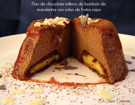 flan-chocolate-relleno-bombon-mandarina-salsa-frutos-rojos