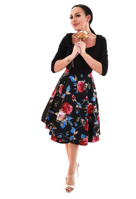Rochie vintage cu decolteu si print floral colorat
