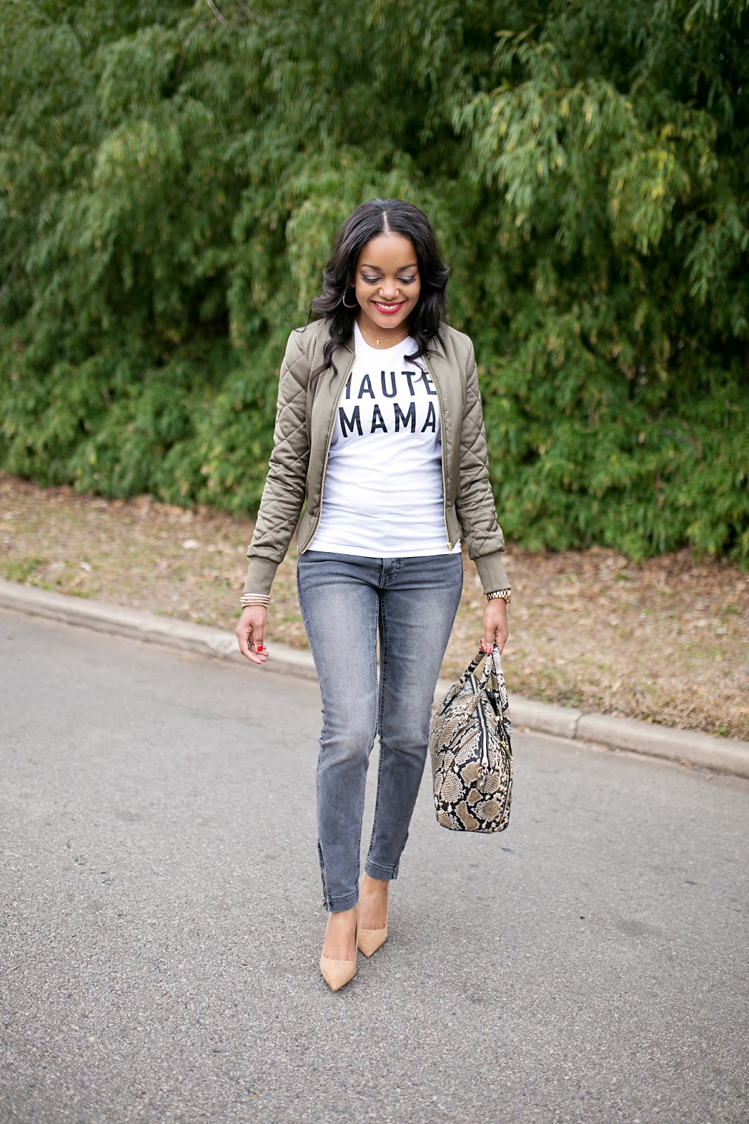 h&m- bomber jacket- green bomber jacket- spring 2016 trend- fashion trend- gray skinny jeans- haute mama graphic tee- t and j designs tee- zara nude pumps- snakeskin Target handbag- how to wear graphic tee- date night look- mommy fashion- dallas blogger- fashion blogger- black girl blogger