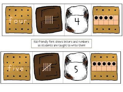 S'mores Number Recognition game. Kids build s'mores to learn 4 different number formats. | Apples to Applique