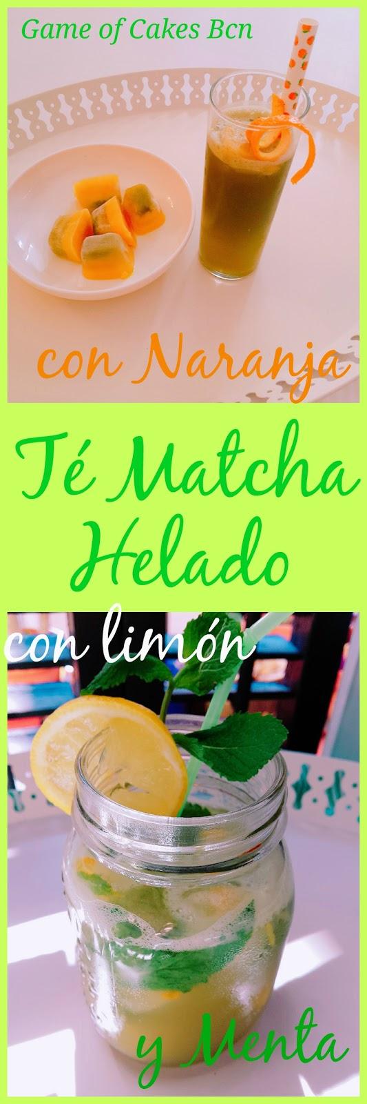 Té Matcha Helado, con Naranja y con Limón y Menta