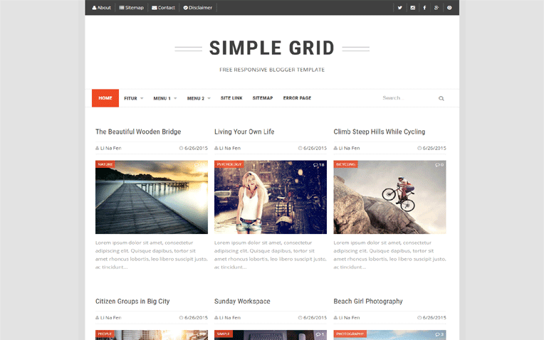 Simple Grid Free Blogger Template