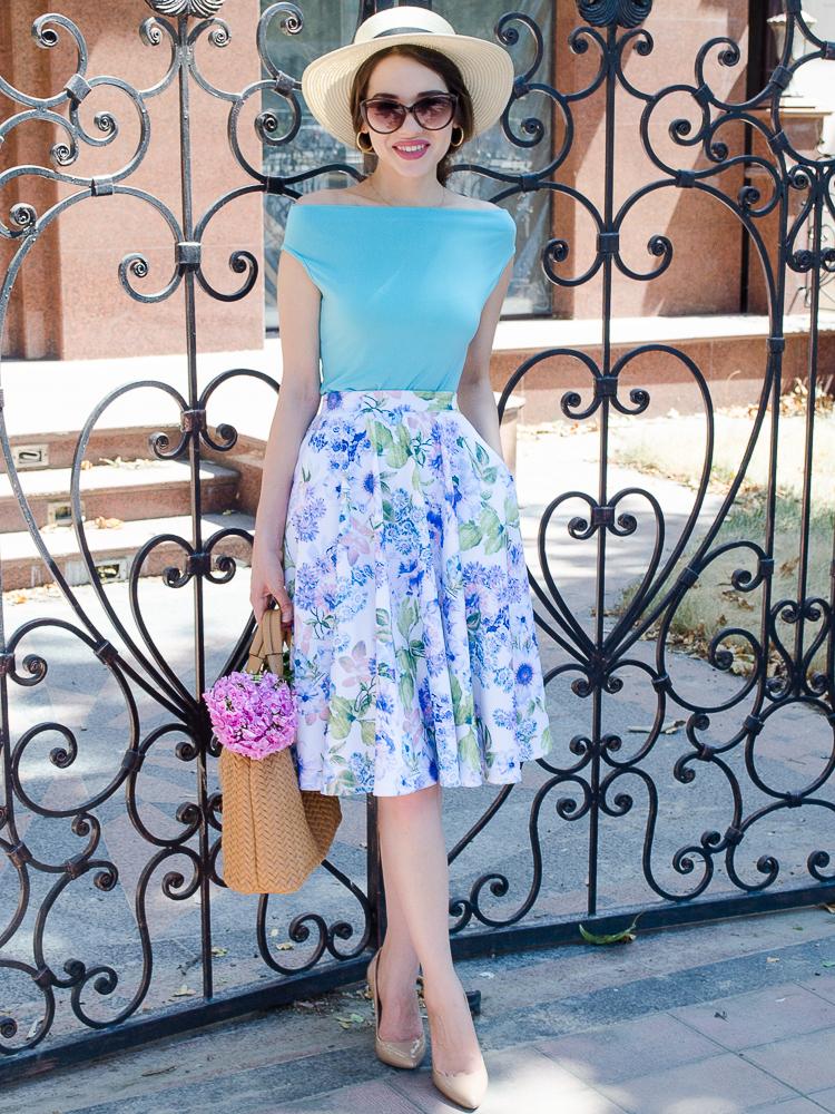 diyorasnotes floral midi skirt asos blue top 39 - LOOK OF THE DAY: FLORAL PRINT MIDI SKIRT