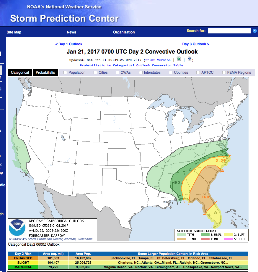 the heavily populated i 4 corridor from tampa to orlando to daytona will be the focal point of possibly severe storms on sunday january 22 2017