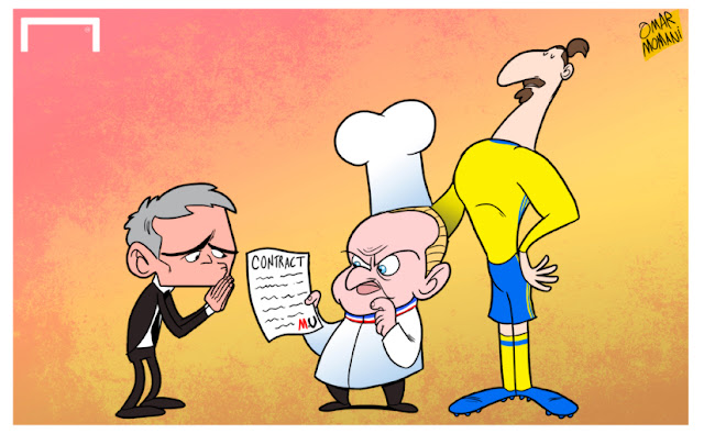 Joel Robuchon, Jose Mourinho and Zlatan Ibrahimovic cartoon caricature