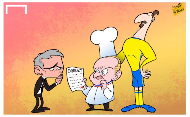 Joel Robuchon, Jose Mourinho and Zlatan Ibrahimovic cartoon caricature