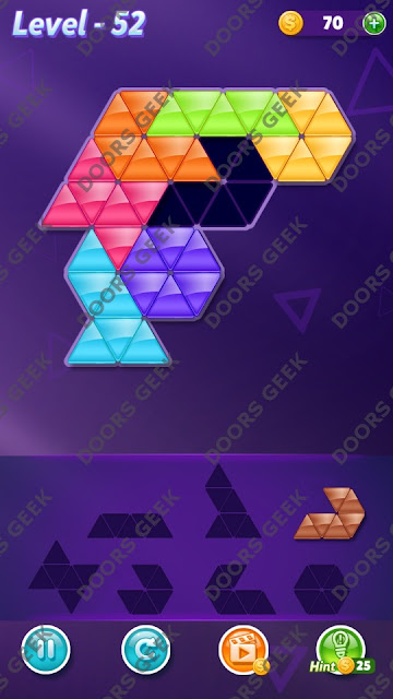 Block! Triangle Puzzle 7 Mania Level 52 Solution, Cheats, Walkthrough for Android, iPhone, iPad and iPod