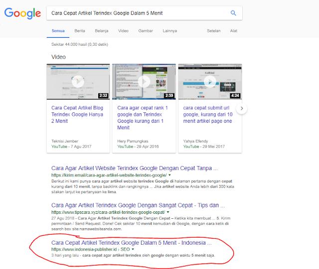 Cara Cepat Artikel Terindex Google Dalam 5 Menit