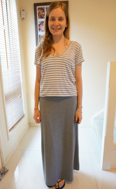 Atmos&Here stripe oversize tee grey marle maxi skirt casual SAHM outfit