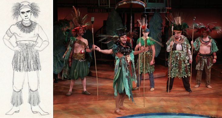 Holly's design for the Mollusks, worn by (L to R) John Allore, Myles Bullock, Schuyler Scott Mastain, Jeffrey Blair Cornell, William Hughes. Photo by Curtis Brown.