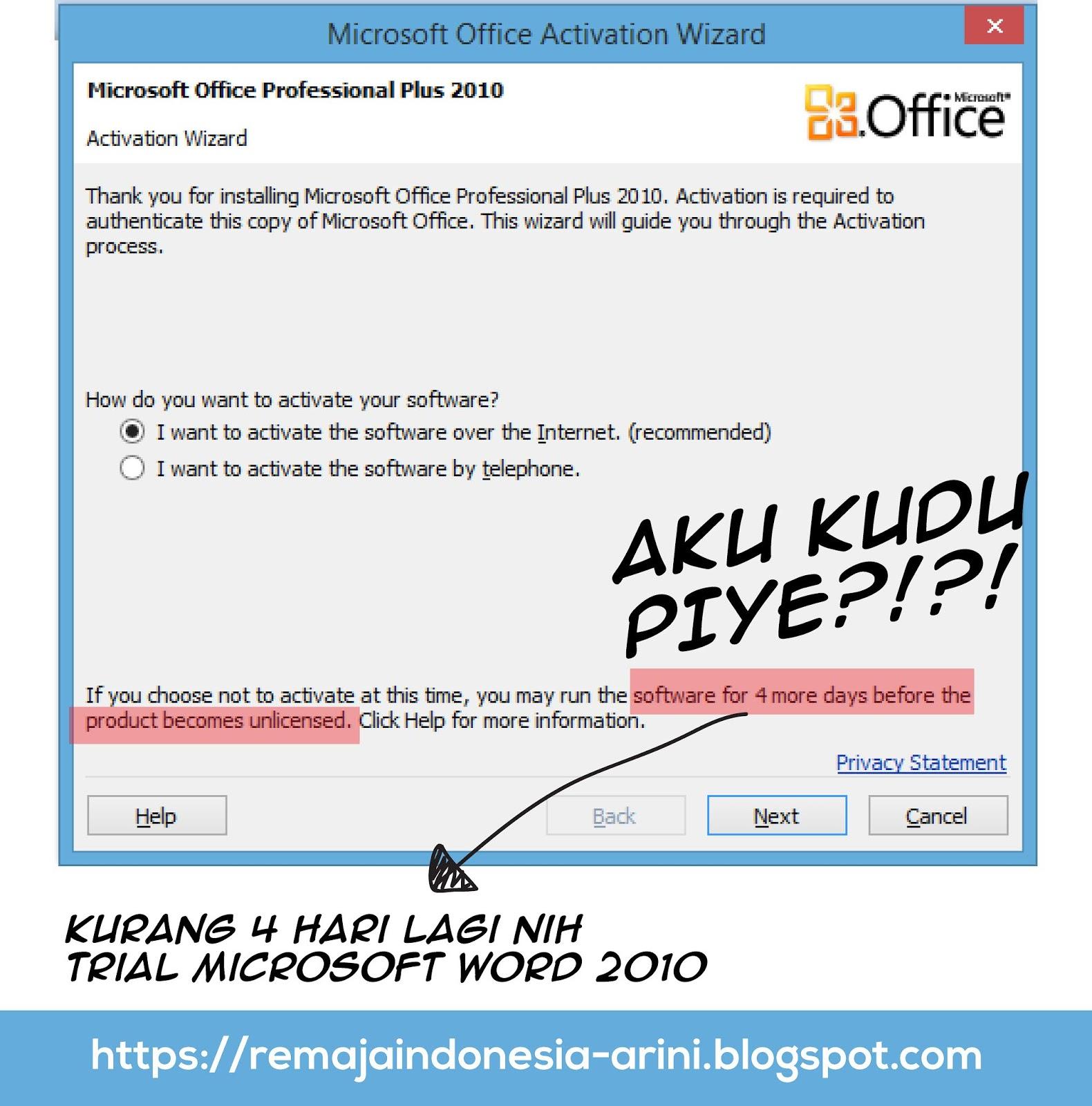 cara menghilangkan activation wizard ms office 2010