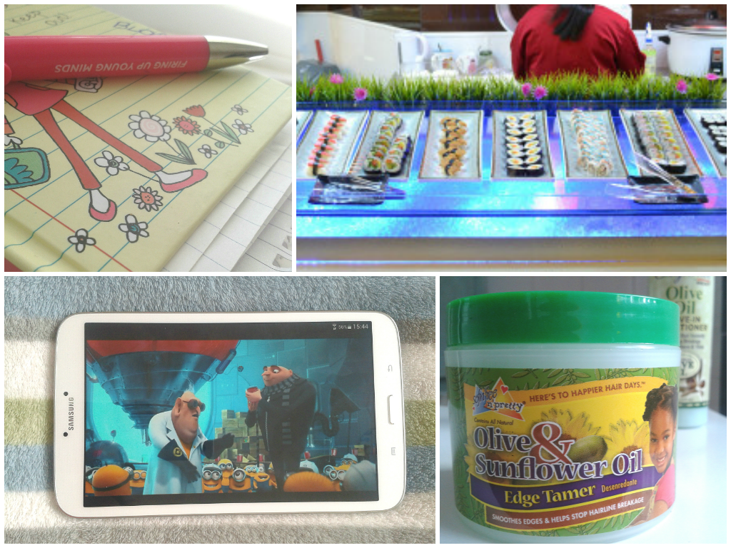 A collage comprising of 4 photos: a notebook, sushi bar, tablet with despicable me on screen and olive oil & sunflower edge tamer