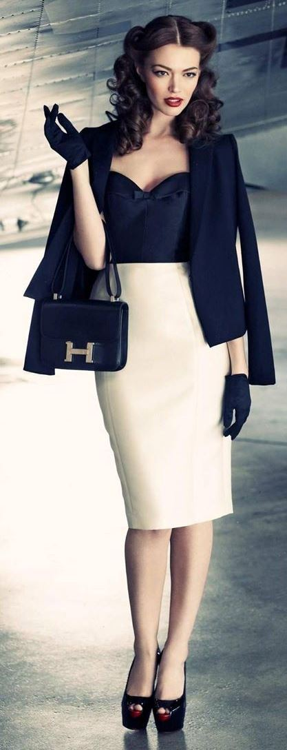 amazing office style / black blazer + bag + top + heels + nude pencil skirt