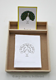 Montessori-inspired Parts of a Peacock cards and book