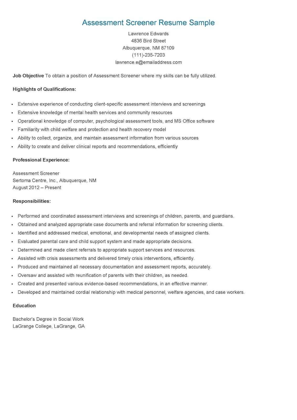 resume samples  assessment screener resume sample