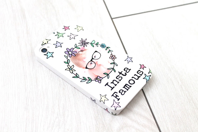 Instafamous colourful personalised photo iphone case with flowers stars and geek glasses