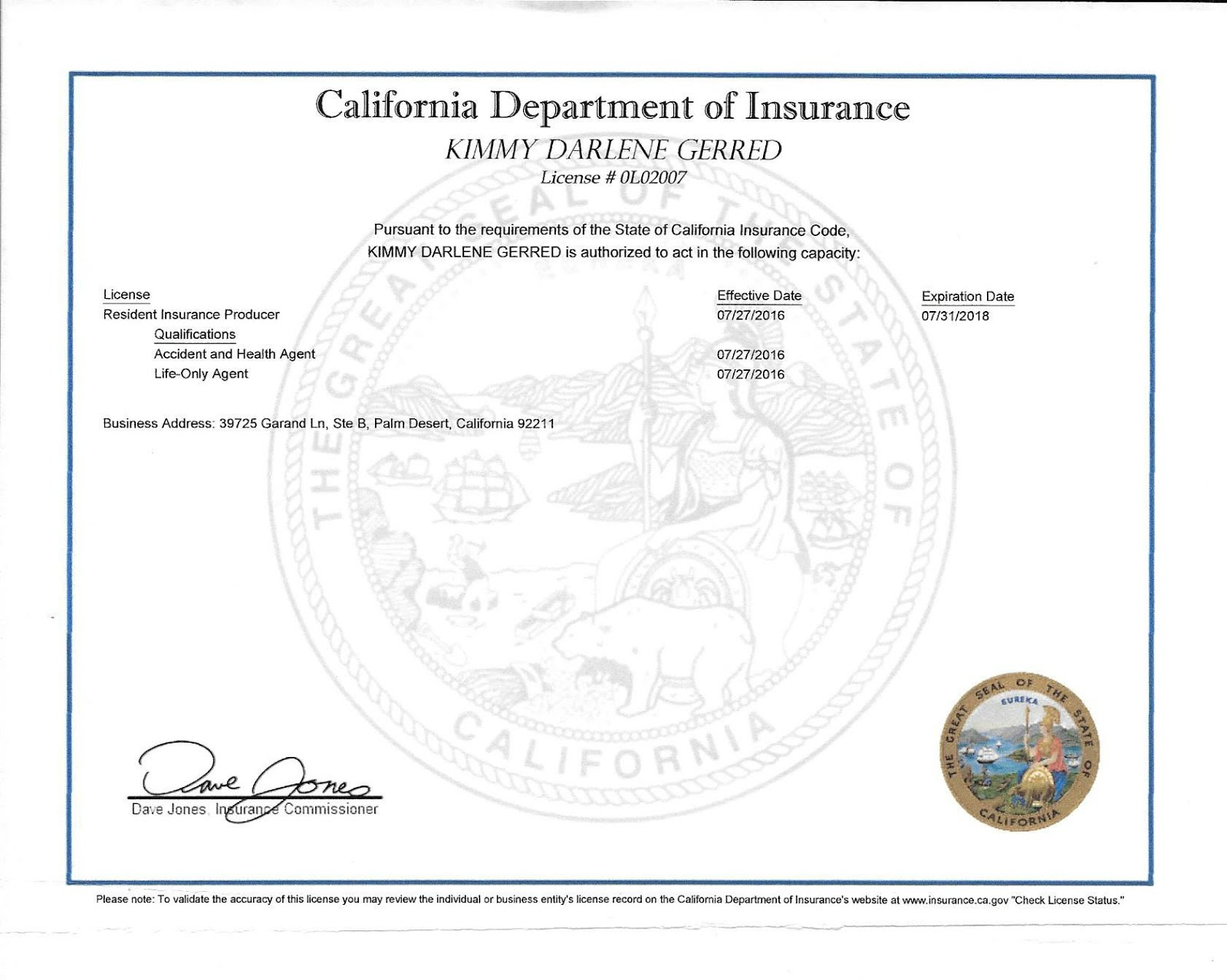 CA. Insurance Licensse for Life & Heath