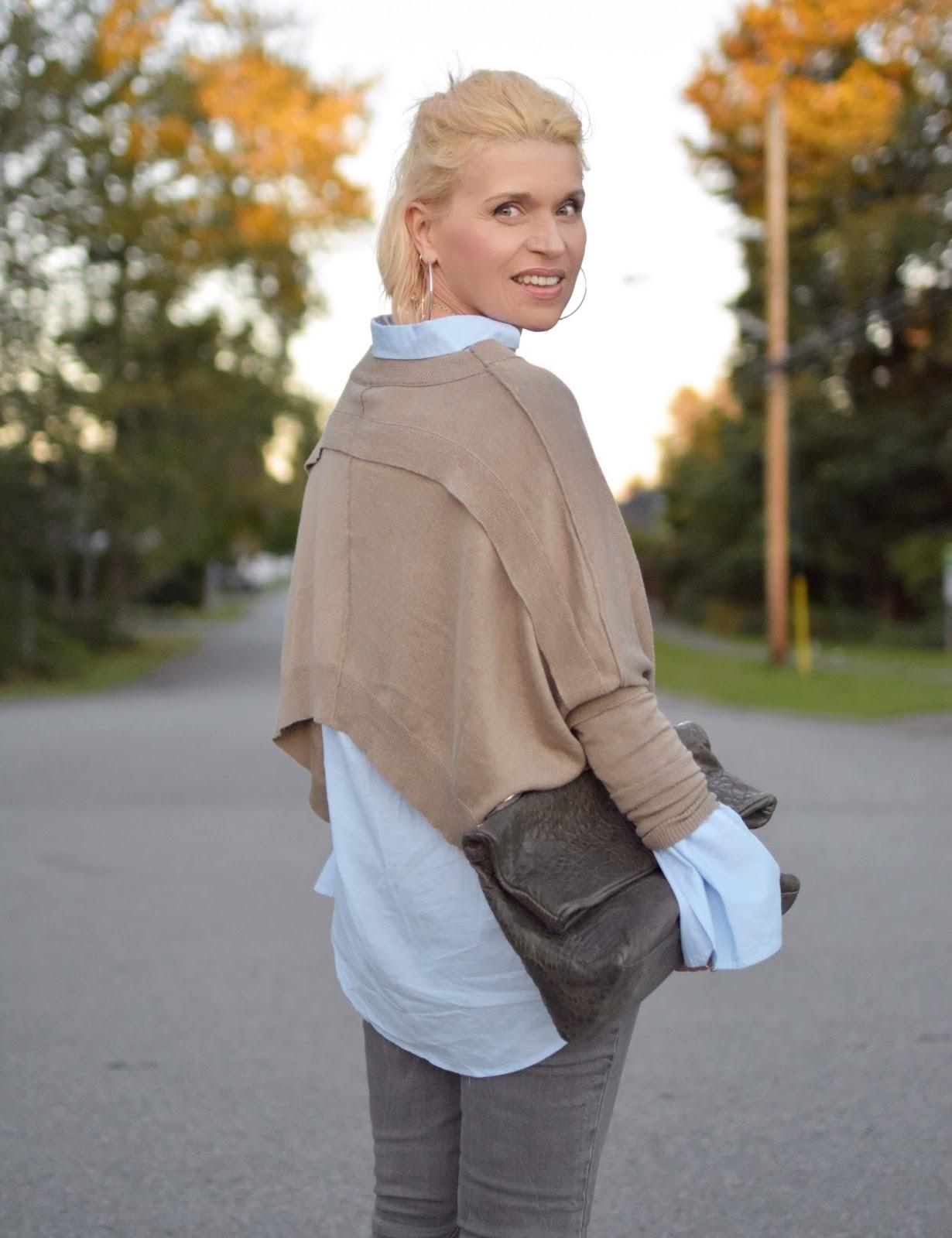 drapey shrug, oversize-cuffed shirt, slate blue satchel