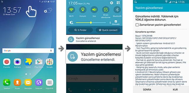 """Samsung """"Yazılım Güncelle"""" Uygulama ekranı"""