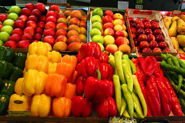 Vegetables for sale at the Kleinmarkthalle, Frankfurt am Main, Germany