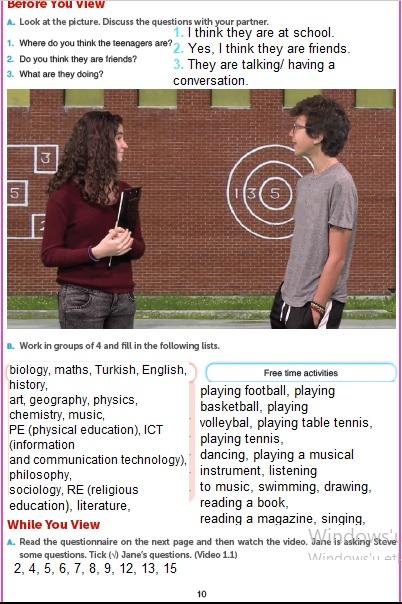 10. Sınıf İngilizce Ders Kitabı Cevapları Gizem Yayıncılık Sayfa 10