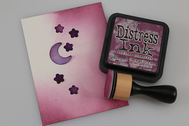 Die Cut Masking and Distress Ink Blending Background by Juliana Michaels featuring Sunny Studio Halloween Cuties Stamps and Dies