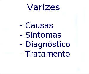 Varizes causas sintomas diagnóstico tratamento prevenção riscos complicações