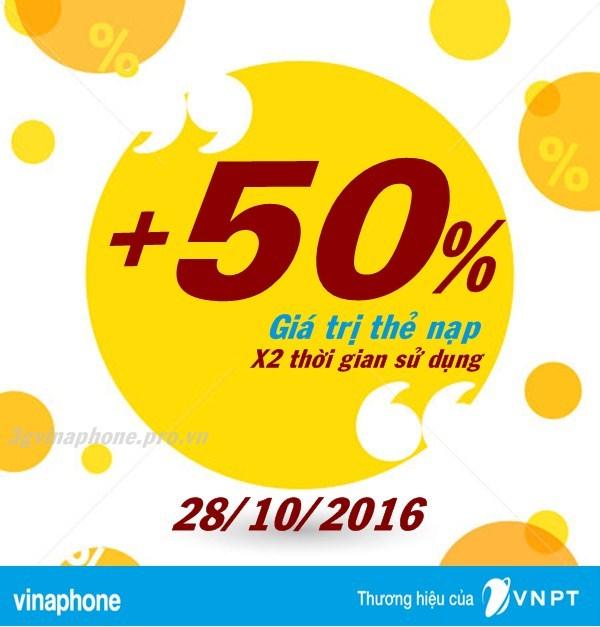 Vinaphone khuyến mãi 50% giá trị thẻ nạp ngày vàng 28/10/2016