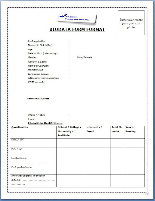 Perfect Biodata Templates Picture Collection - Resume Ideas - performa of biodata