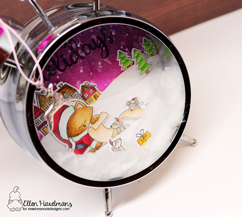Holiday Home Décor Clock by Ellen Haxelmans | Santa Paws Newton, Sentiments of the Season and Snow Globe Scenes Stamp sets by Newton's Nook Designs #newtonsnook #handmade