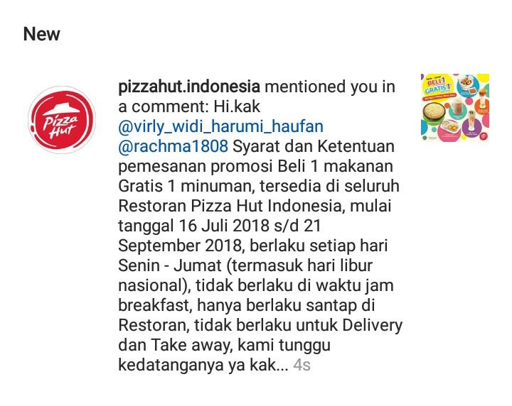 Promo Pizza Hut Beli 1 Makanan Gratis 1 Minuman Periode