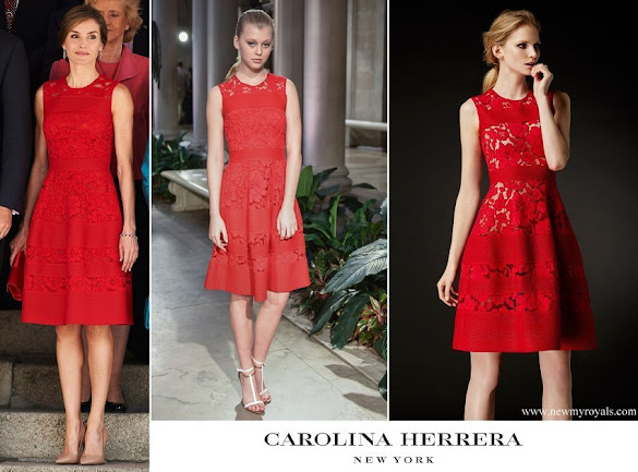 Queen Letizia wore Carolina Herrera lace dress from Fall 2016 collection