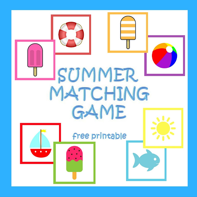 Summer matching game - free printable