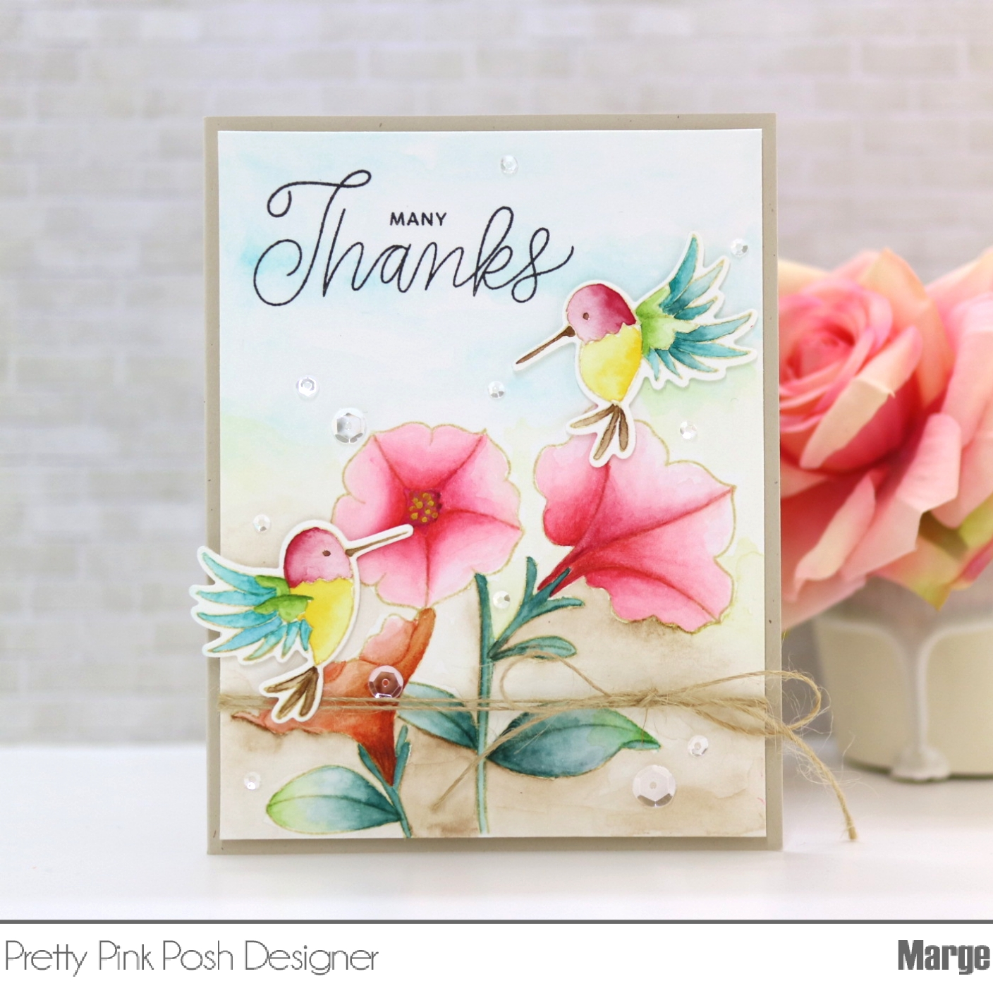 Marge Crafts Pretty Pink Posh No Line Watercoloring Of