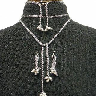Conjunto metálico trenzado en plata