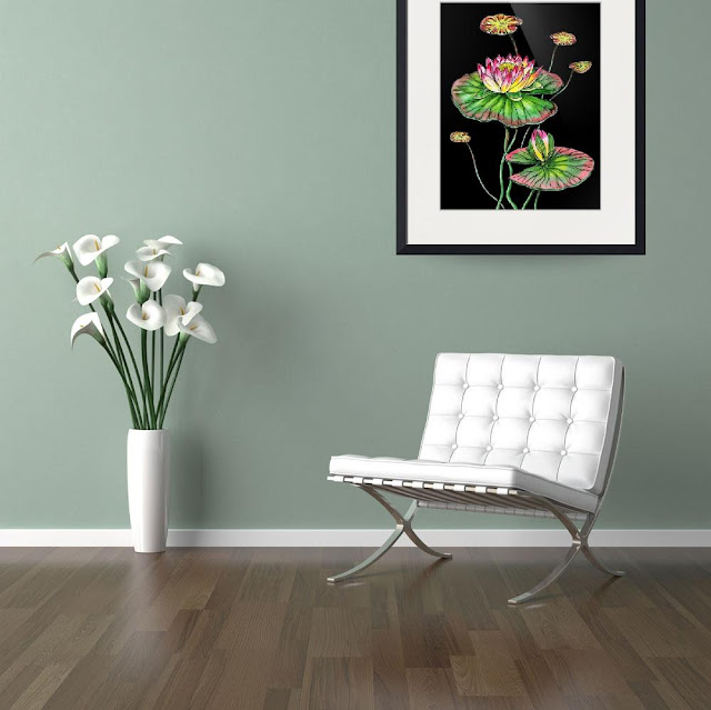 Waterlily Botanical Watercolor Flower painting in interior decor