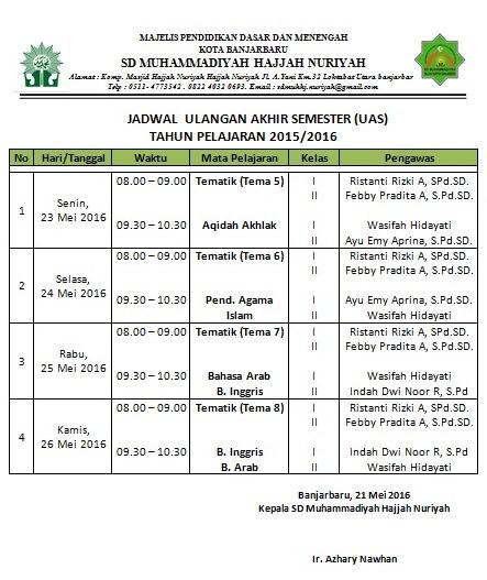 Jadwal Pelaksanaan UAS TP. 2016/2017