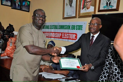 Photos: INEC presents Certificates of Return to Edo State Governor-elect, Godwin Obaseki and Deputy